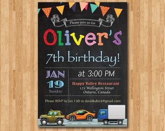 Transportation Cars birthday invitation. Dump Truck Car birthday party invite. Chalkboard. Printable digital DIY.