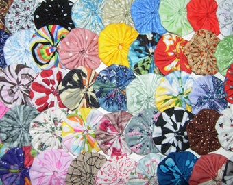 "Fabric YoYos, 50 Multi Color Miniatures,  1-1/2"" Size, Crafting, Appliques, Embellishments"