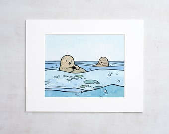 Sea Otters Art Print, 8x10 Otter Nursery Art, Cute Animal Drawing