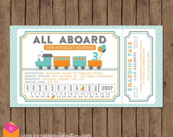 Train Ticket Invitation - All Aboard - Turquoise Orange Gray - Train Birthday Invitation - Boy Birthday Invitation - Train Party Invitation