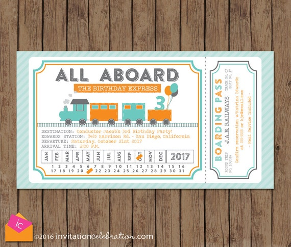 Train ticket invitation all aboard turquoise orange gray train ticket invitation all aboard turquoise orange gray train birthday invitation boy birthday invitation train party invitation filmwisefo Choice Image