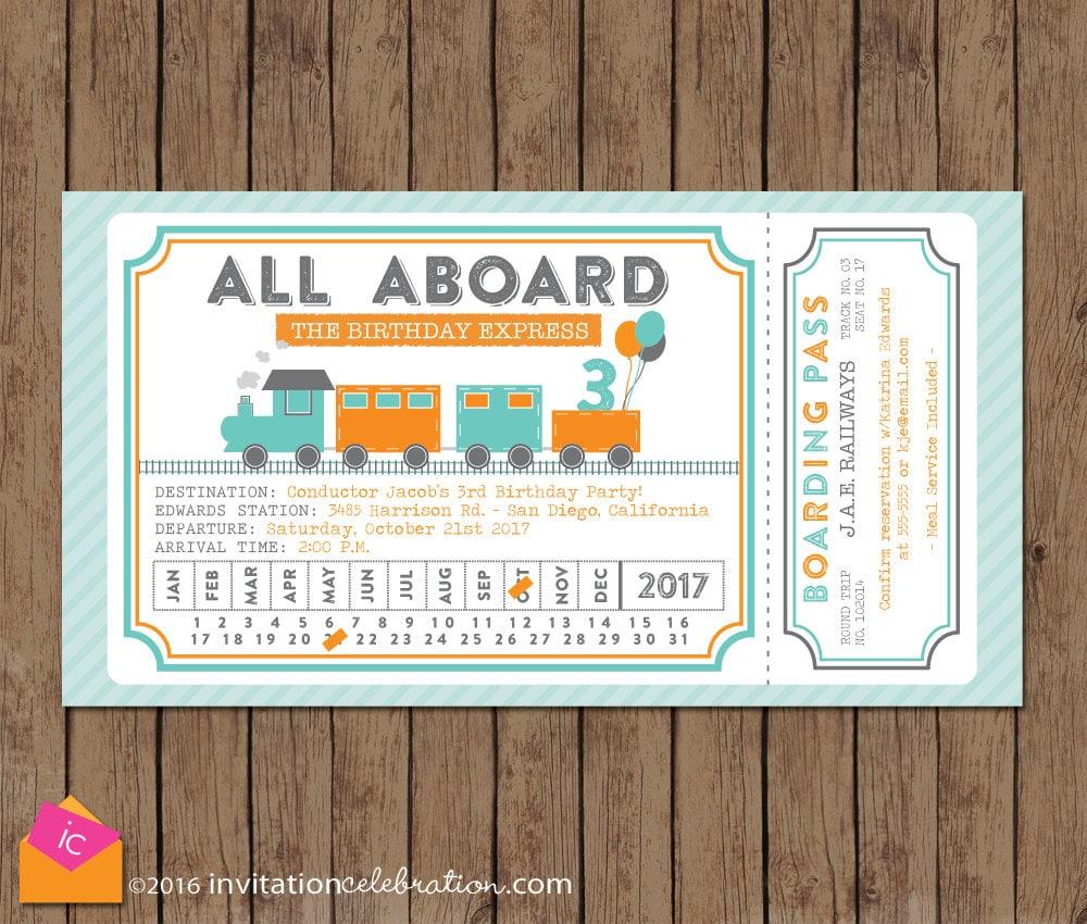 Train Ticket Invitation All Aboard Turquoise Orange Gray
