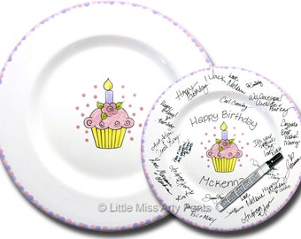 Free Shipping - Hand Painted Signature Birthday Plate - Flower Cupcake -Happy Birthday Plate - 1st Birthday -Birthday Cupcake -Birthday Gift