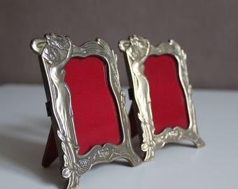 Vintage antique brass or bronze photo frames art deco - noveu