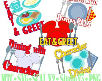 Character Dining Amusement Park Embellishments Bundle Cut Files MTC SVG SCAL and more File Format