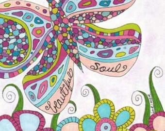 Beautiful Soul Art Print, Metamorphosis, Butterfly, Flower Garden
