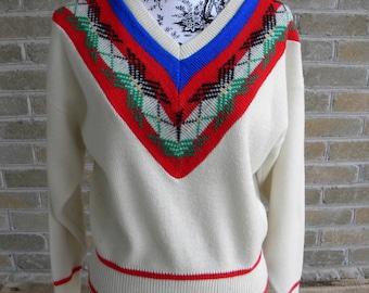 Vintage Pandora Sweater / Vintage Cream Patterned Sweater / Cabin Sweater / Cream Blue Red Sweater / Pandora Made in USA