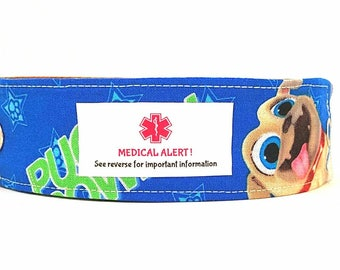 New! Kids Medical Bracelet ID Bracelet Child ID Bracelet Allergy Alert Adjustable Wristband  Puppy Pals