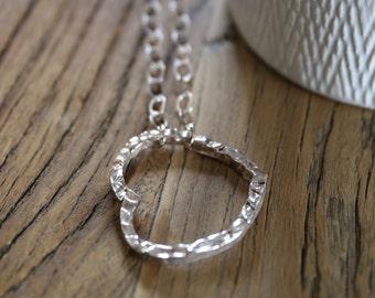 Rock Heart, long necklace in silver