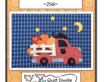 Fall Delivery Applique  Packaged Pattern for Tea Towel, A cute truck design with Pumpkins