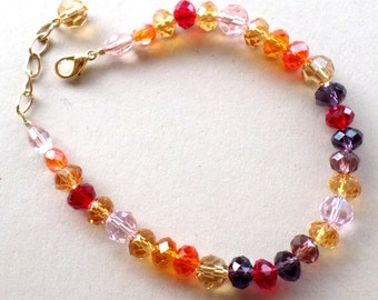 Bracelet with Adjustable Chain - Handmade Bracelet Purple Red Orange Yellow - Crystal-cut Glass Tropical Sunset Bracelet
