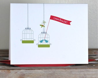 Christmas Cards. Holiday Card Set . Personalized Christmas Cards - Under the Mistletoe