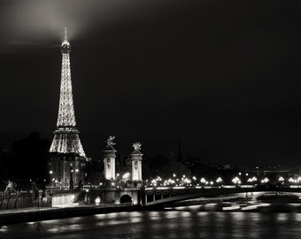Paris photo - Forever Paris (Toujours Paris) - Eiffel, City Lights - Fine art photography - Black and White Photography - urban, modern