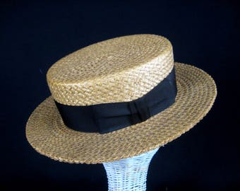 Mens Straw Boater Hat, Skimmer Hat, 1920s Straw Hat, Size 7 one quarter  Stetson Straw Hat,