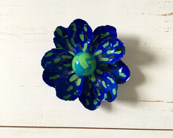 Vintage 60s Brooch/ 1960s Enamel Brooch/ Oversized Psychedelic Bright Blue Flower Brooch w/ Green & Black Brushstrokes