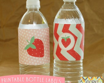 Strawberry Bottle Labels Printable PDF - Printable Party Supplies - Strawberry Birthday Party DIY