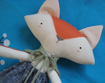 Gooroomi Foxy Fox Girl Heirloom Cloth Doll - Item FOX0013