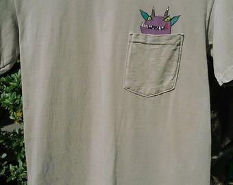 Hand Painted Pocket Monster - Small Men's Tee Shirt Khaki Color 100% Cotton - Purple Monster Sticking Out of the Pocket Unique Gift For DAD