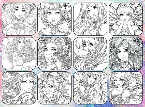 PDF DIGITAL Fantasy Coloring book advanced adult colouring