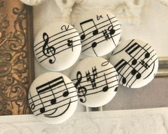 Fabric Buttons, Fridge Magnets, Music Magnets, Covered Buttons, Music Buttons, Off White Buttons,  Cloth Buttons, Flat Backs, 1.2 Inches 5's