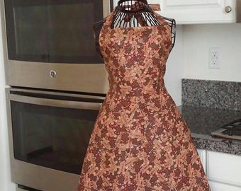 Gingerbread apron with ruffle or without ruffle!