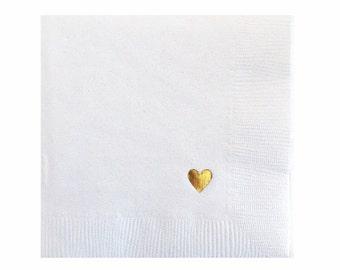 Serviettes de table coeur serviettes - feuille d'or, serviettes - serviettes de table de mariage - Bridal Shower