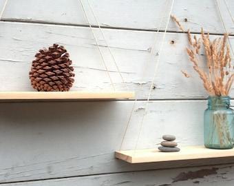 Hanging Shelf - Size Medium - Salvaged Pine Hanging Shelf With Hemp