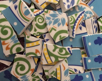 Mosaic Tiles Art Supply Colorful Plate Pieces Broken Plates Dishes Colorful Floral Swirl Blue 100 Pieces
