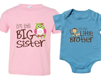 Big Sister Little Brother Shirts set of 2, Sibling T-shirt or Bodysuit, Owl I'm the Big Sister, Monkey I'm the Little Brother, MKOSib