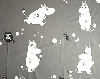 Moomin fabric grey white black Moomin characters Cotton Fabric Kids Fabric Scandinavian Design Scandinavian Textile