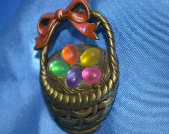 Vintage JJ Easter Basket Figural Brooch Pin