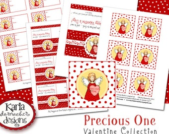 Valentine Angel Precious One INSTANT DOWNLOAD Bible Verse Printable Isaiah 43 Art Tags Labels Bag Toppers Digital Party Favors