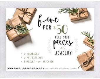 Five Pack — mystery jewelry set subscription box silver gold crystals stones wood