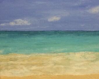 Original, Bahama Blue, Acrylic on Canvas, Gallery Wrapped Edges 12 x 12 x 1.5