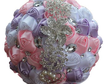 Lavender Pink and White Satin Rose Bouquet Crystal Rhinestone Bridal Bouquet Bridesmaid Bouquet Brooch Bouquet Wedding Flowers