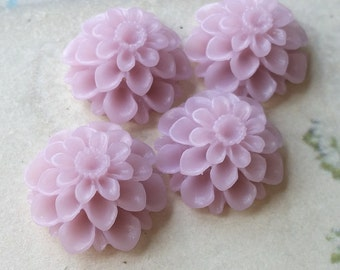 20 mm Lilac Color Resin Dahlia Flower Cabochons (.am) (zzb)