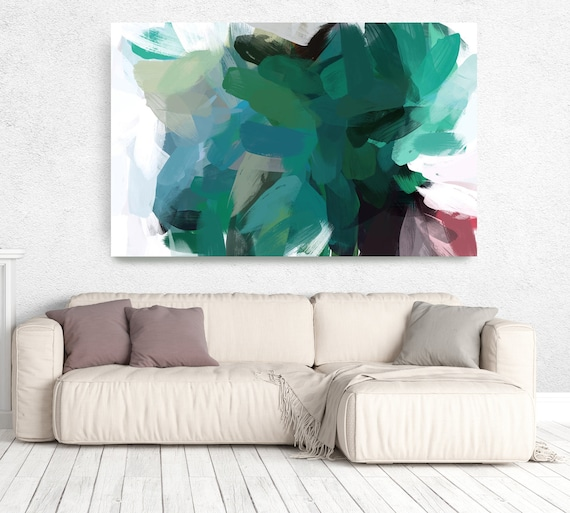 """The Color Movement 22, Modern Green Canvas Art Print Painting Green Abstract White Green Decor up to 80"""" by Irena Orlov"""