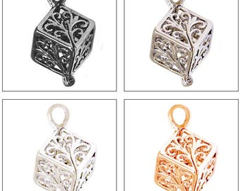 MERZIEs pearl cage U PICK quantity 1, 5, 10 Box Cube Filigree plated gold silver gunmetal pendant Chart #16 - SHIPs from USA