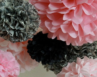 Tissue Paper Pom Poms -Set of 7- Pink and Damask Poms - Tea Party Decoration - Shower Wedding Decorations