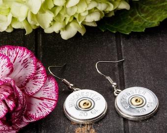 Shotgun Bullet Casing Jewelry - Shotgun Dangle Bullet Earrings (20 Gauge) (Nickel Free)