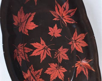 Black Lacquerware Maruni Metal Based Dish Made in Occupied Japan with Red Maple Leaves