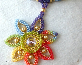 Statement Necklace  Jewelry Flower Shaped  Romantic gift Colors of the Rainbow