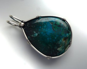 Pendant with Chrysocolla, 36 mm, unique, pendant chrysocolla-wire wrapped solid sterling silver