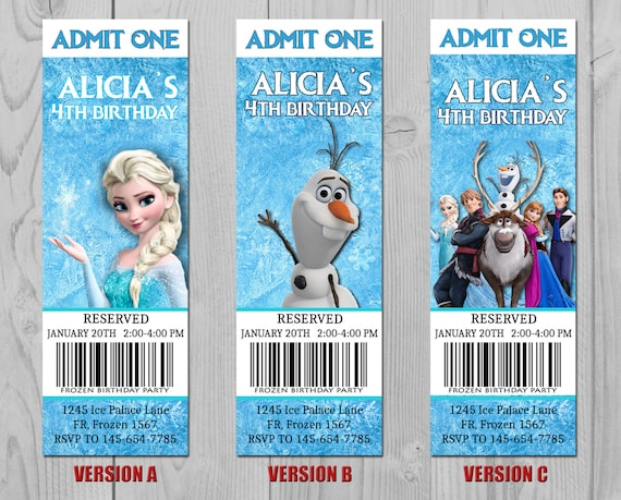 Frozen Invitation - Frozen Ticket - Frozen Invite - Frozen Party - Elsa Ticket - Olaf Ticket - Sven Ticket - Frozen Birthday - Frozen