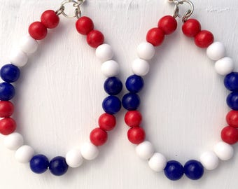 Red White and Blue beaded hoop earrings - 4th of July earrings - Patriotic earrings