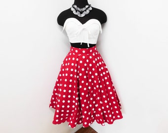 50s Style Lipstick Red White Polka Dot Full Circle Skirt Pin Up Rockabilly Minnie Lucy Retro Cosplay Costume Party XS S Small