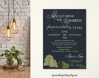Eat Drink and Be Married Vow Renewal Invitation, Anniversary Invitation, Renewing of Wedding Vows Invite, 5th, 10th, 20th, 25th, 35th, 40th