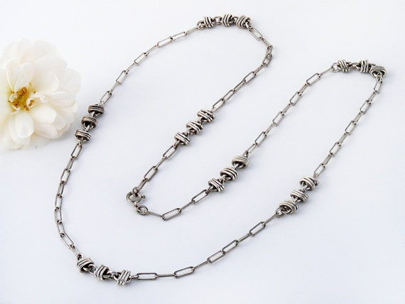 29.5 Inch Long Vintage Sterling Silver Necklace Chain | 925 Silver | Long Decorative Knotted Sterling Chain | 75cm Long Chain
