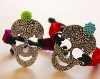 Handmade Sugar Skull Woven Bracelet-Flower-Cord-Day of the Dead-Halloween-Disney Coco Inspired-Fiesta-Cinco de Mayo-Goth-Hipster-Rock & Roll