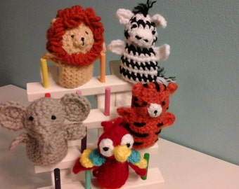 Crochet Jungle Animals finger puppets